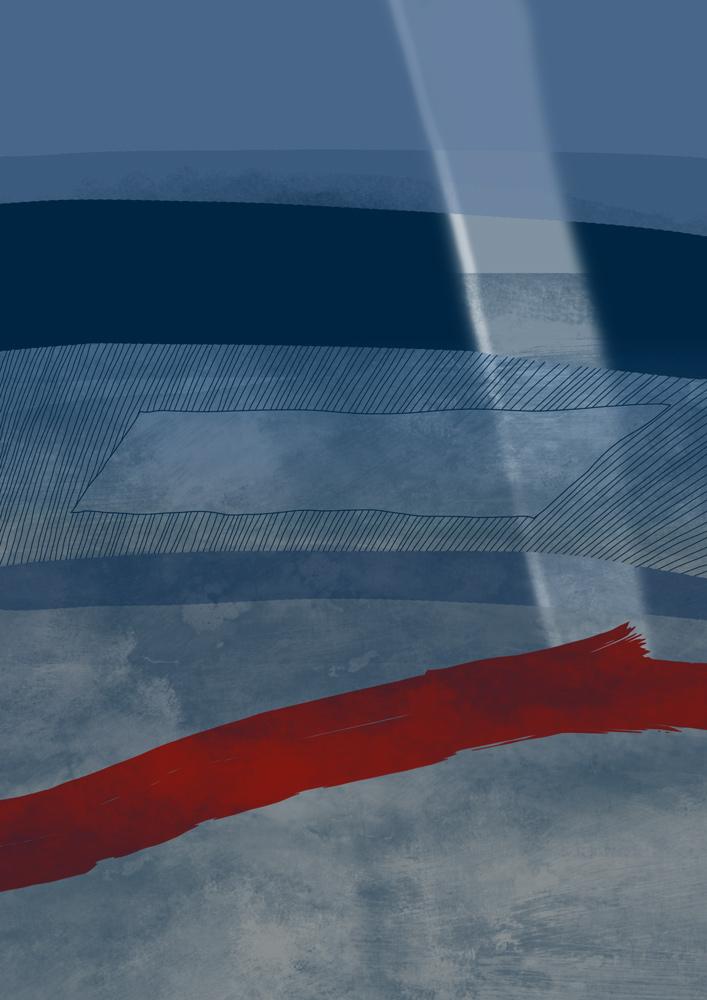 blaue linien mit rot