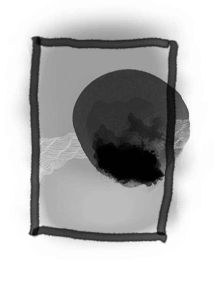 grau mit fenster und ball