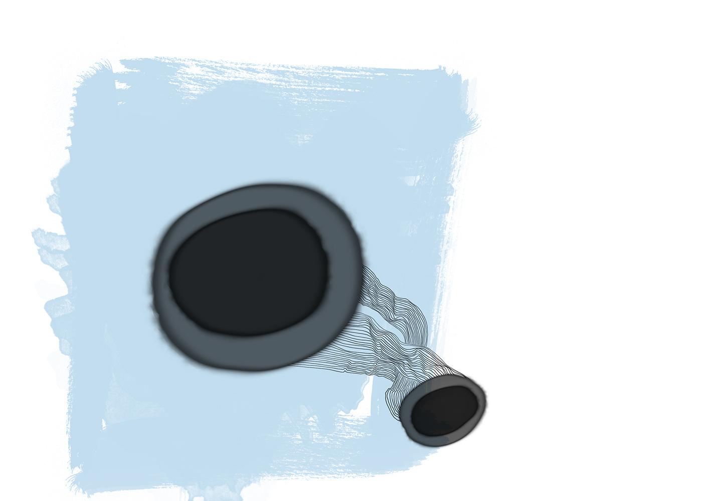 hellblau mit zwei schwarzen bällen