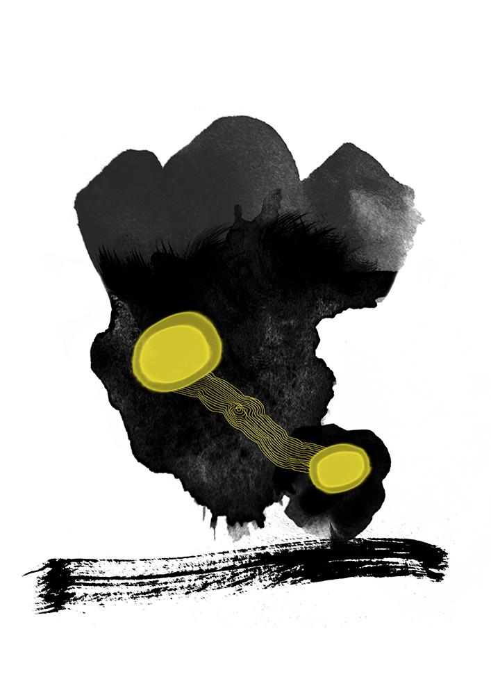 schwarze flecken mit zwei gelben