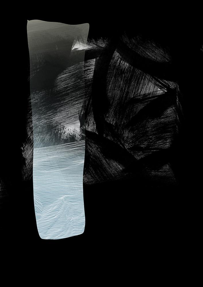 schwarz mit weissen linien