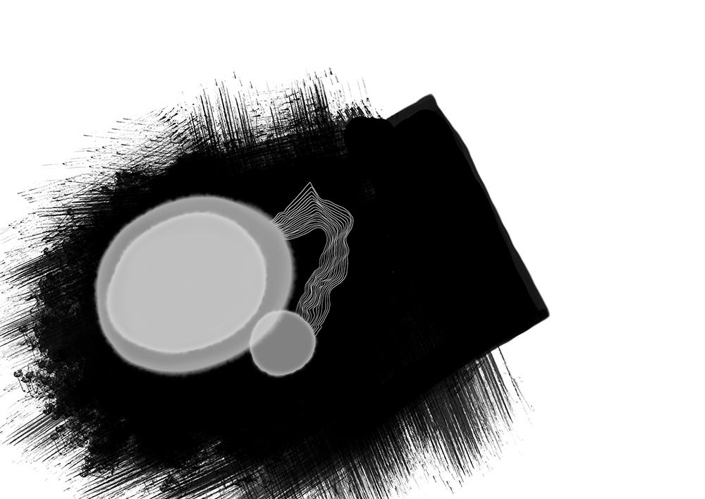 schwarz mit zwei grauen punkten