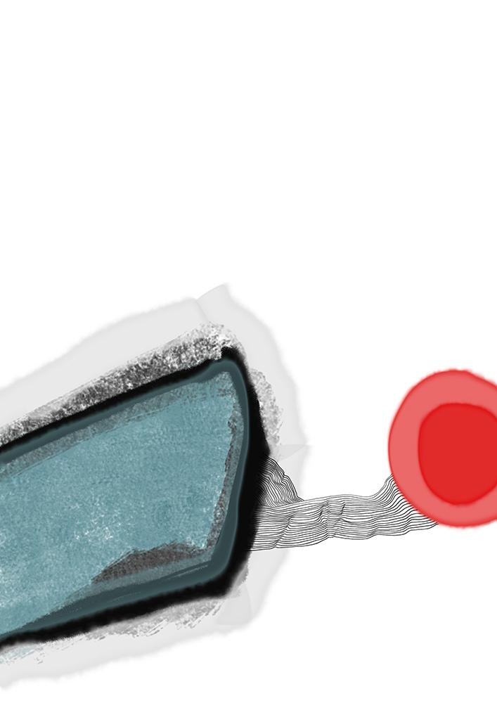 turkis roter ball zeichnung