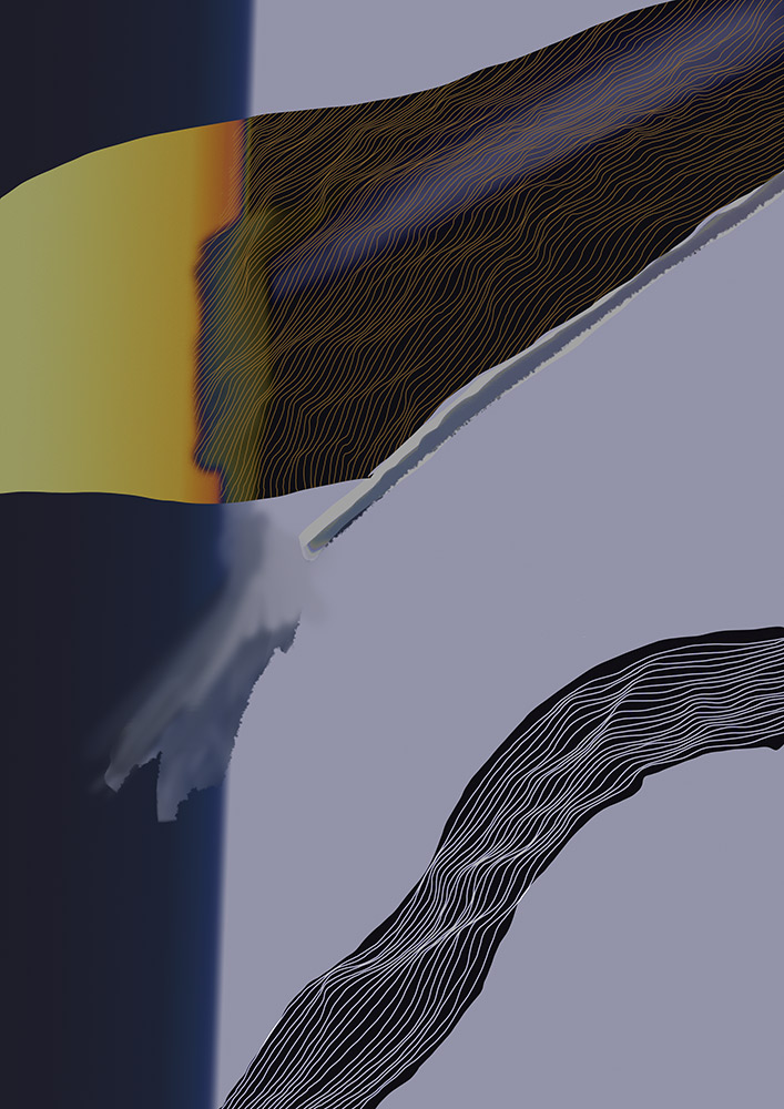 zwei gradients ineinander mit weissen linien